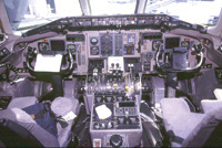 cluttered instrument panel of a commercial airliner