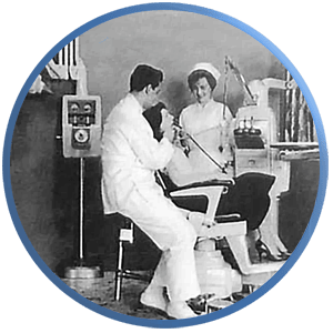 An archival depiction of obsolete dental equipment setup