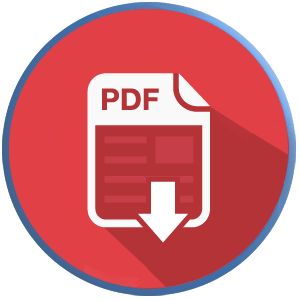 cropped circle of pdf icon on red background