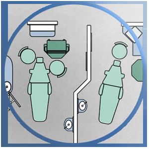 Efficient dental treatment room pairs