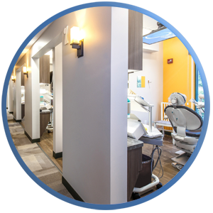 detail of a completely redesigned dental practice from the hallway looking at all the new treatment rooms